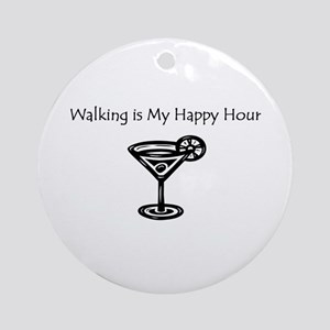 Walking is My Happy Hour B/W Ornament (Round)