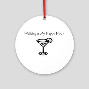 Walking is My Happy Hour B/W Ornament (Round)