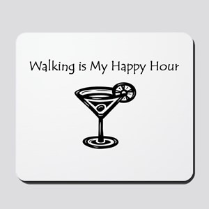 Walking is My Happy Hour B/W Mousepad