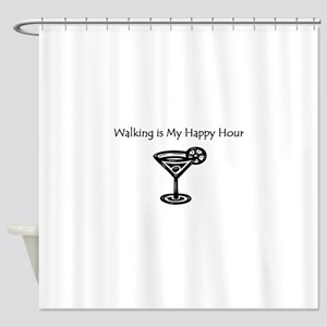 Walking is My Happy Hour B/W Shower Curtain