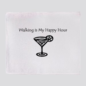 Walking is My Happy Hour B/W Throw Blanket
