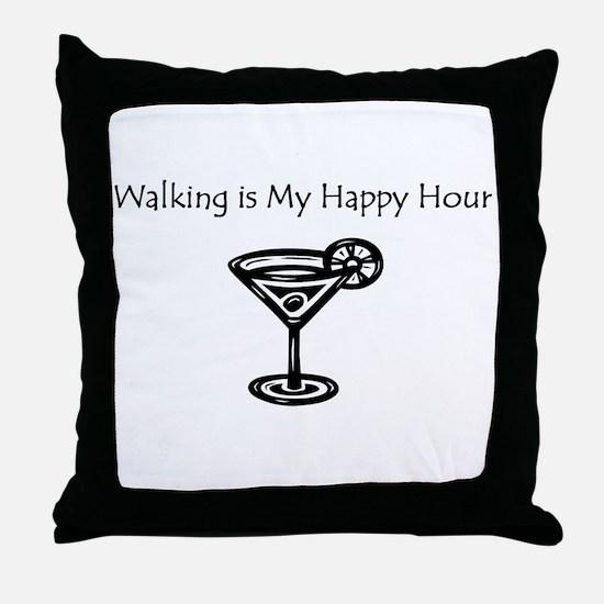 Walking is My Happy Hour B/W Throw Pillow