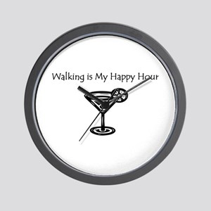 Walking is My Happy Hour B/W Wall Clock