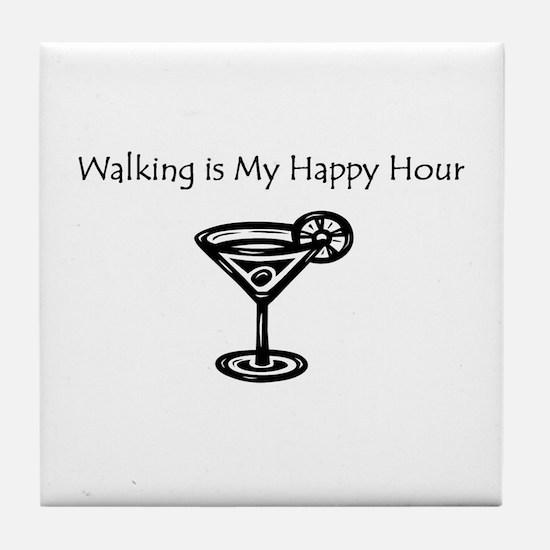 Walking is My Happy Hour B/W Tile Coaster