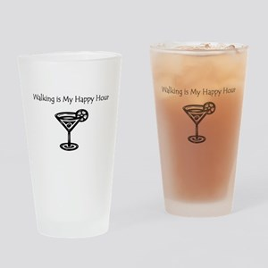 Walking is My Happy Hour B/W Drinking Glass