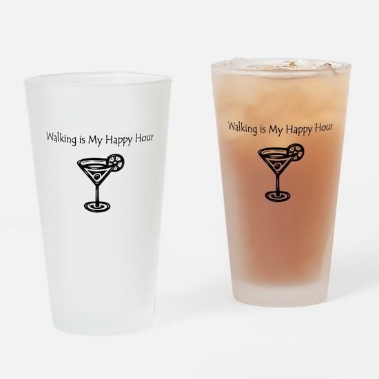 Walking is My Happy Hour B/W Drinking Glass