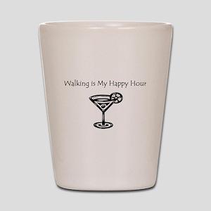 Walking is My Happy Hour B/W Shot Glass