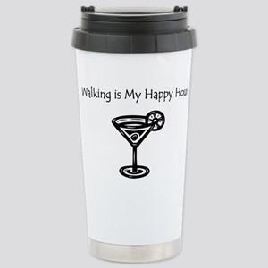 Walking is My Happy Hour B/W Stainless Steel Trave