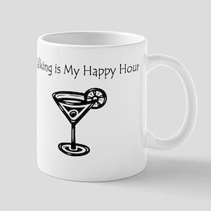 Walking is My Happy Hour B/W Mug