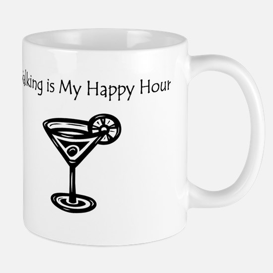 Walking is My Happy Hour B/W Mug
