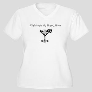 Walking is My Happy Hour B/W Women's Plus Size V-N