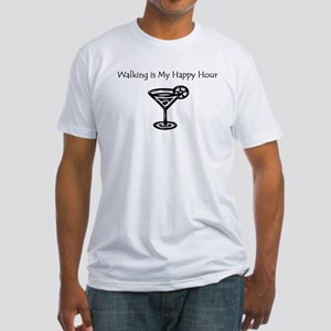 Walking is My Happy Hour B/W Fitted T-Shirt