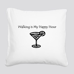 Walking is My Happy Hour B/W Square Canvas Pillow