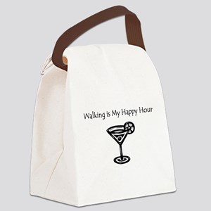 Walking is My Happy Hour B/W Canvas Lunch Bag