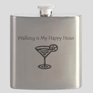 Walking is My Happy Hour B/W Flask