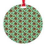 Rainbow Star Pattern Round Ornament
