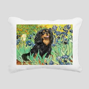 PILLOW-Irises-Cav-Blk-Tan Rectangular Canvas P