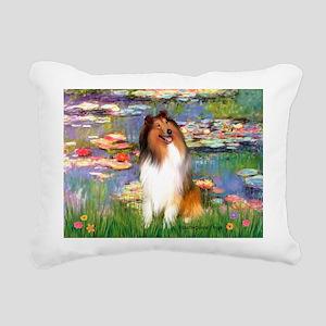 MP-Lilies2-Collie1 Rectangular Canvas Pillow