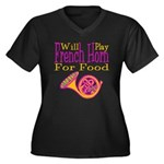 Will Play French Horn Women's Plus Size V-Neck Dar