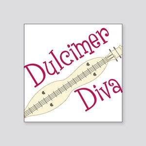 "Dulcimer Diva Square Sticker 3"" x 3"""