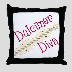 Dulcimer Diva Throw Pillow