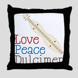 Love Peace Dulcimer Throw Pillow
