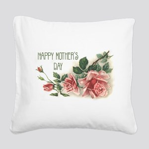 Mothers Day Roses Square Canvas Pillow