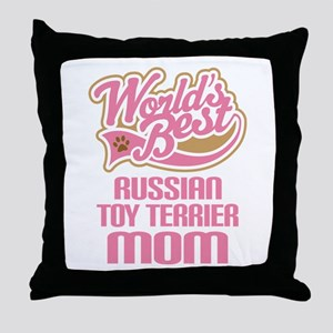 Russian Toy Terrier Mom Throw Pillow