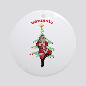 Santa Tree Pose Ornament (Round)