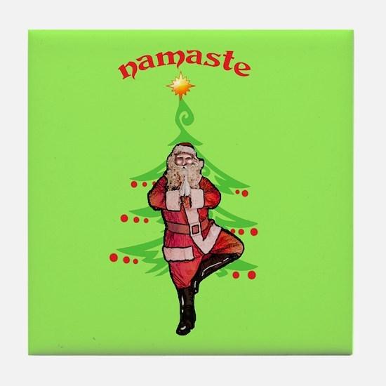 Santa Tree Pose Tile Coaster