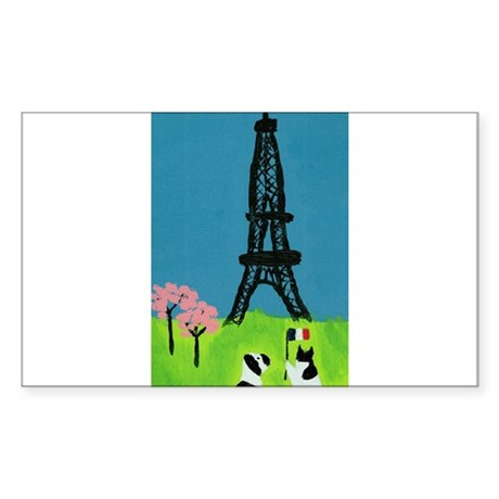 Dog Cat and the Eiffel Tower Sticker (Rectangle)