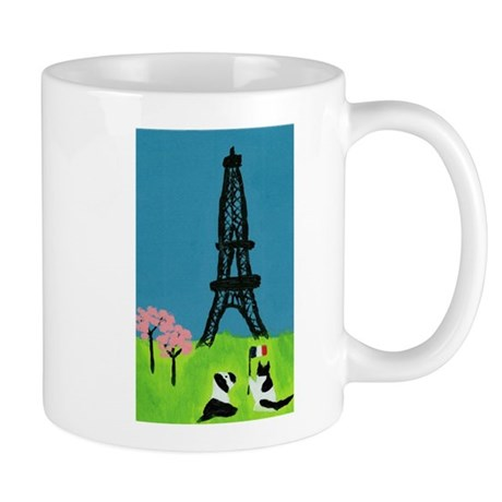 Dog Cat and the Eiffel Tower Mug