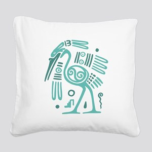 Tribal Crane Square Canvas Pillow