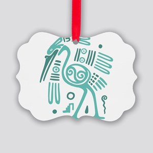 Tribal Crane Picture Ornament