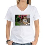 Puppy in the Roses Women's V-Neck T-Shirt