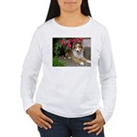 Puppy in the Roses Women's Long Sleeve T-Shirt