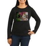 Puppy in the Roses Women's Long Sleeve Dark T-Shir