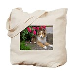Puppy in the Roses Tote Bag