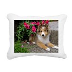 Puppy in the Roses Rectangular Canvas Pillow
