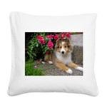 Puppy in the Roses Square Canvas Pillow