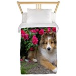 Puppy in the Roses Twin Duvet