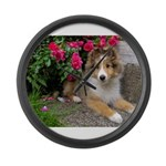 Puppy in the Roses Large Wall Clock