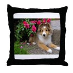 Puppy in the Roses Throw Pillow