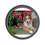 Puppy in the Roses Wall Clock