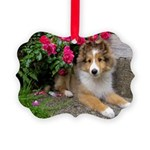 Puppy in the Roses Picture Ornament