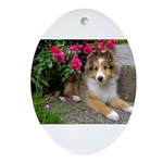 Puppy in the Roses Ornament (Oval)