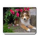 Puppy in the Roses Mousepad