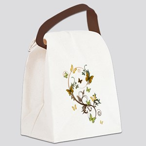 Earth Tone Butterfly Canvas Lunch Bag