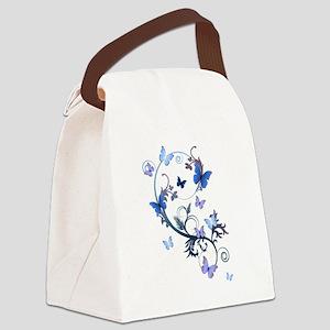 Blue Butterflies Canvas Lunch Bag