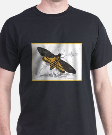 Deaths-hed Hawkmoth Moth (Front) Black T-Shirt